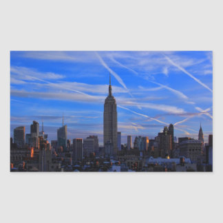 Empire State Building, NYC Skyline and Jet Trails Rectangular Sticker