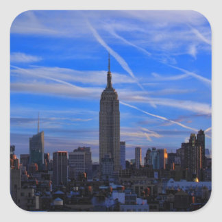 Empire State Building, NYC Skyline and Jet Trails Square Sticker