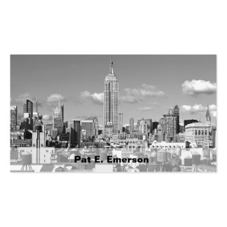 Empire State Building NYC Skyline Puffy Clouds BW Double-Sided Standard Business Cards (Pack Of 100)