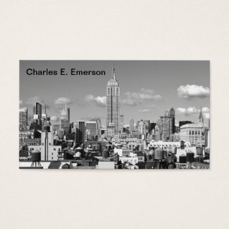Empire State Building NYC Skyline Puffy Clouds BW Business Card
