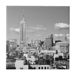 Empire State Building NYC Skyline Puffy Clouds BW Ceramic Tile