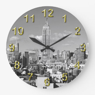 Empire State Building NYC Skyline Puffy Clouds BW Round Wall Clocks