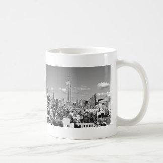 Empire State Building NYC Skyline Puffy Clouds BW Coffee Mug