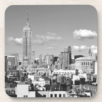 Empire State Building NYC Skyline Puffy Clouds BW Beverage Coaster