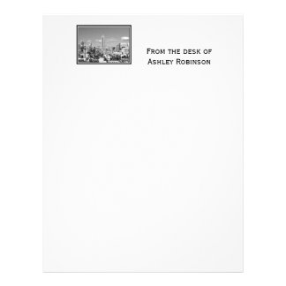 Empire State Building NYC Skyline Puffy Clouds BW Letterhead