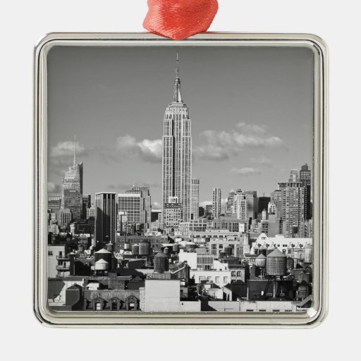 Empire State Building NYC Skyline Puffy Clouds BW Christmas Tree Ornaments