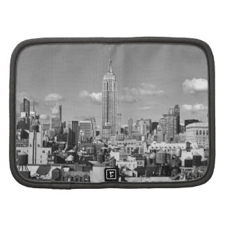 Empire State Building NYC Skyline Puffy Clouds BW Planner