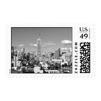 Empire State Building NYC Skyline Puffy Clouds BW Postage