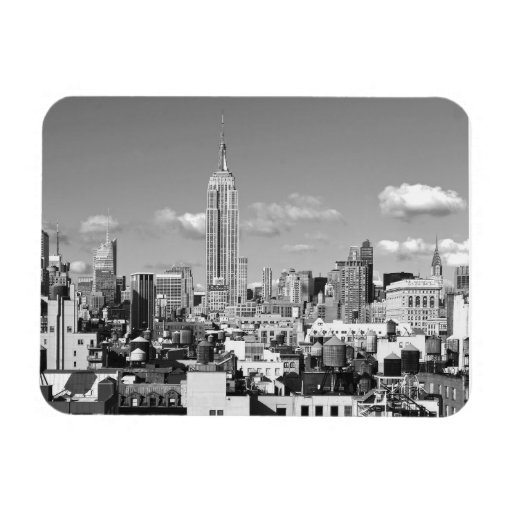 Empire State Building NYC Skyline Puffy Clouds BW Vinyl Magnets