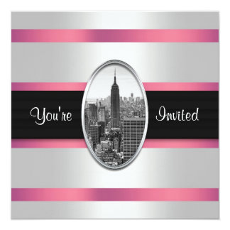 Empire State Building Party Invite White Pink