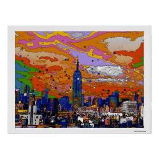 Empire State Building psicodélico y horizonte A1 d Impresiones