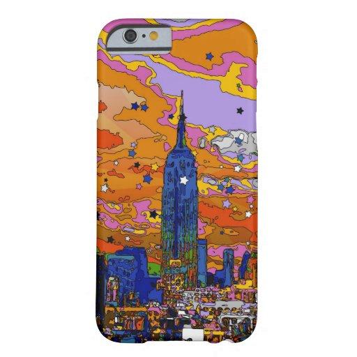 Empire State Building psicodélico y horizonte A1 Funda De iPhone 6 Barely There
