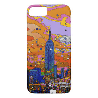 Empire State Building psicodélico y horizonte A1 Funda iPhone 7