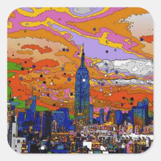 Empire State Building psicodélico y horizonte A1 Pegatina Cuadrada