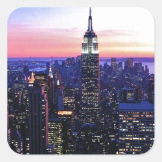 Empire State Building: Puesta del sol Pegatina Cuadrada
