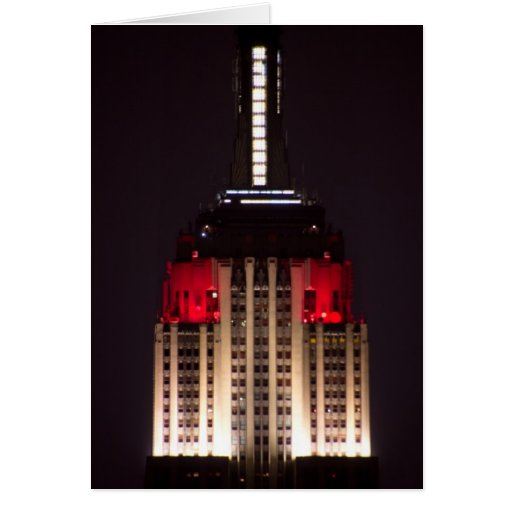 Empire State Building Red and White Close up Card