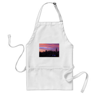 Empire State Building Red White Blue Pink Sky Aprons