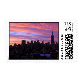 Empire State Building Red White Blue, Pink Sky Postage
