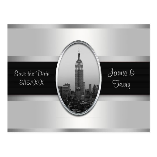 Empire State Building Save The Date White Silver Postcard