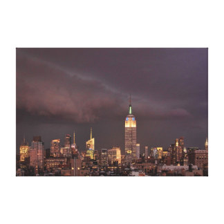 Empire State Building shark-like cloud approaches Stretched Canvas Print