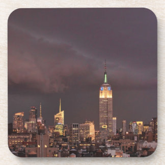 Empire State Building, shark-like cloud approaches Beverage Coaster