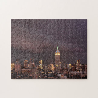 Empire State Building, shark-like cloud approaches Jigsaw Puzzle
