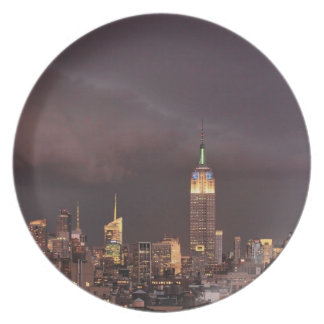 Empire State Building, shark-like cloud approaches Plate