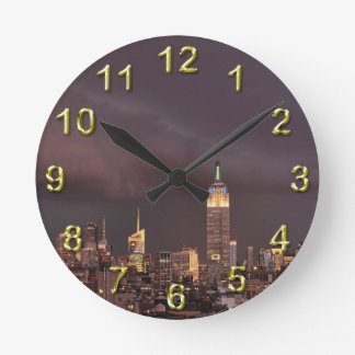Empire State Building, shark-like cloud approaches Round Wallclocks