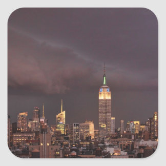 Empire State Building, shark-like cloud approaches Square Sticker