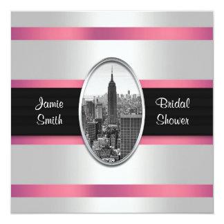 Empire State Building Shower Invite White Pink