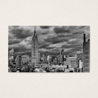 Empire State Building, Stormy NYC skyline, B&W Business Card