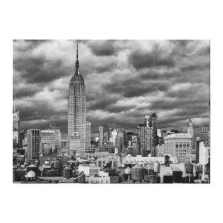 Empire State Building, Stormy NYC skyline, B&W Canvas Print