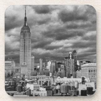 Empire State Building, Stormy NYC skyline, B&W Beverage Coasters