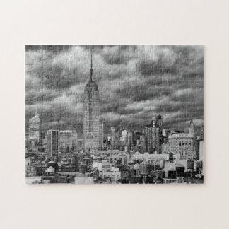 Empire State Building, Stormy NYC skyline, B&W Jigsaw Puzzle