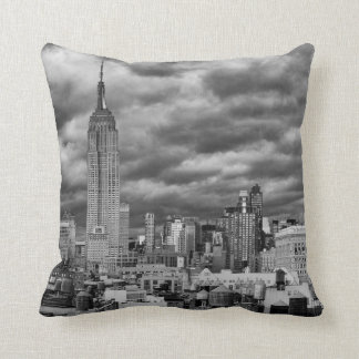 Empire State Building, Stormy NYC skyline, B&W Pillow