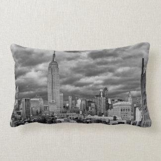 Empire State Building, Stormy NYC skyline, B&W Pillows