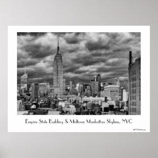 Empire State Building, Stormy NYC skyline, B&W Poster