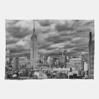 Empire State Building, Stormy NYC skyline, B&W Towel