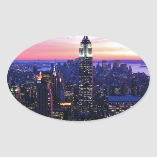 Empire State Building: Sunset Oval Sticker