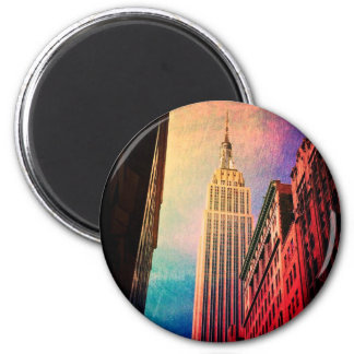 Empire State Building - surrealista - New York Imán Redondo 5 Cm