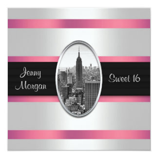 Empire State Building Sweet 16 Invite White Pink