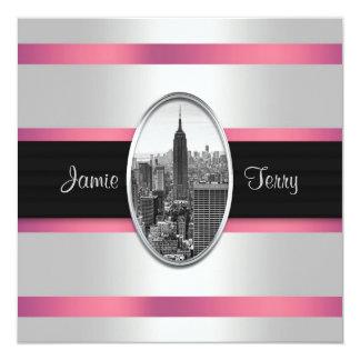 Empire State Building Wedding Invite White Pink