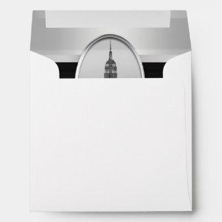 Empire State Building Wedding Invite White Silver Envelope