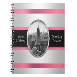 Empire State Building Wedding Planner White Pink Spiral Note Books