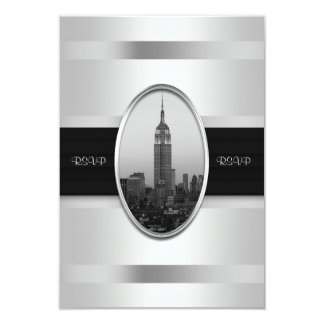 Empire State Building Wedding RSVP White Silver Card