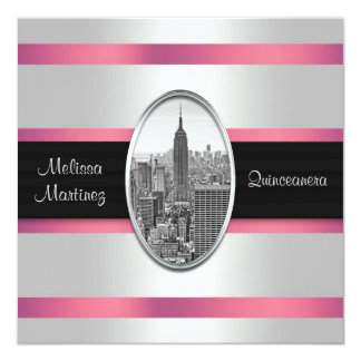 Empire State Building White Pink Quinceanera Card