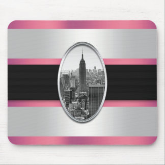 Empire State Building White Pink Stripes Mousepads