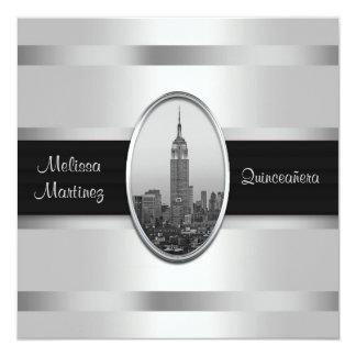 """Empire State Building White Silver Quinceanera 5.25"""" Square Invitation Card"""