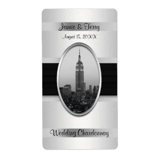 Empire State Building White Silver Wine Label