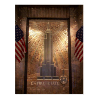 Empire State Building with flags, NYC Postcard